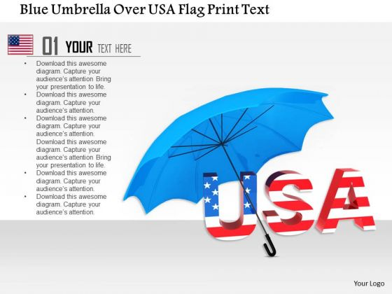 Stock Photo Blue Umbrella Over Usa Flag Print Text PowerPoint Slide