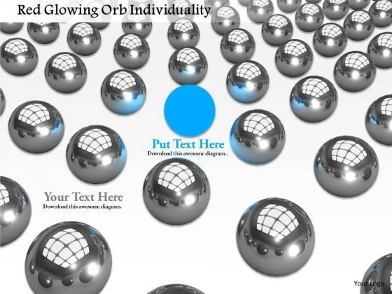 Stock Photo Blue Unique Ball In Silver Balls PowerPoint Slide