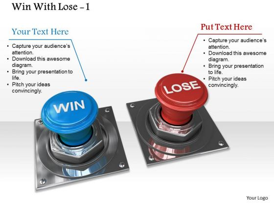 Stock Photo Blue Win And Red Lose Switches PowerPoint Slide