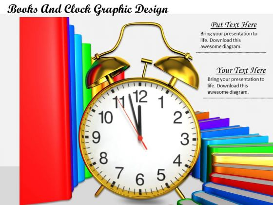 Stock Photo Books And Clock Graphic Design PowerPoint Template