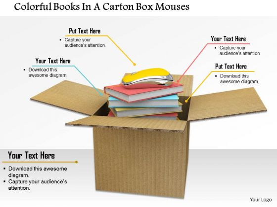 Stock Photo Books And Mouse In Carton Box PowerPoint Slide