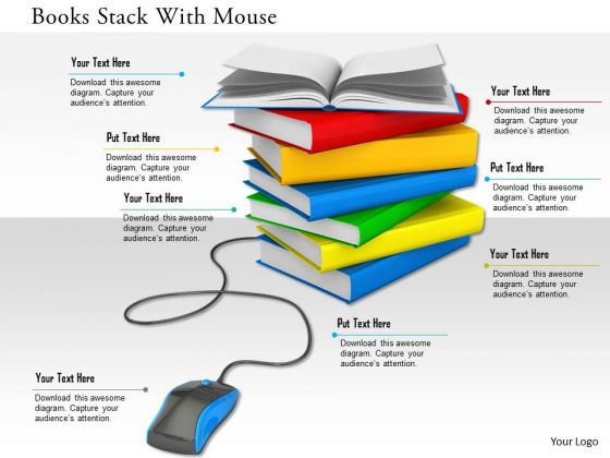 Stock Photo Books Stack With Mouse PowerPoint Slide
