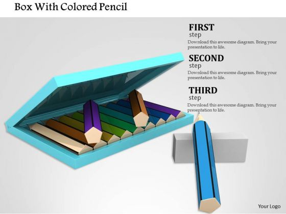 Stock Photo Box With Colored Pencil PowerPoint Slide
