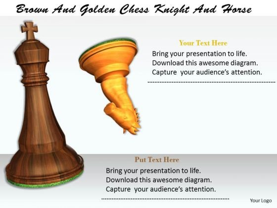 Stock Photo Brown And Golden Chess Knight And Horse PowerPoint Template