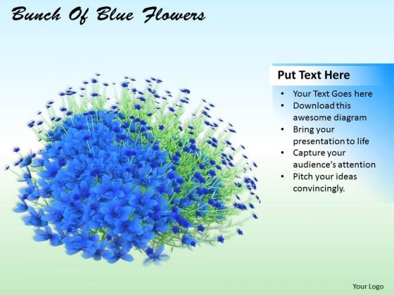 Stock Photo Bunch Of Blue Flowers Ppt Template