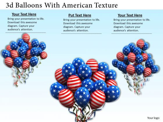 Stock Photo Bunches Of Balloons With Flag Of America PowerPoint Slide