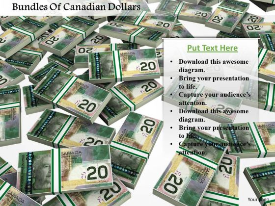 Stock Photo Bundles Of Canadian Dollars PowerPoint Slide