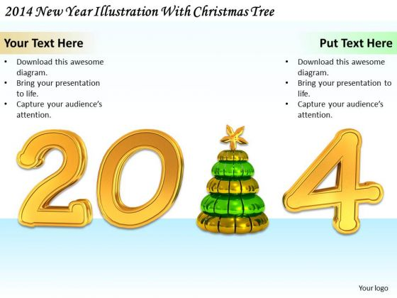 Stock Photo Business Development Strategy 2014 New Year Illustration With Christmas Tree Icons