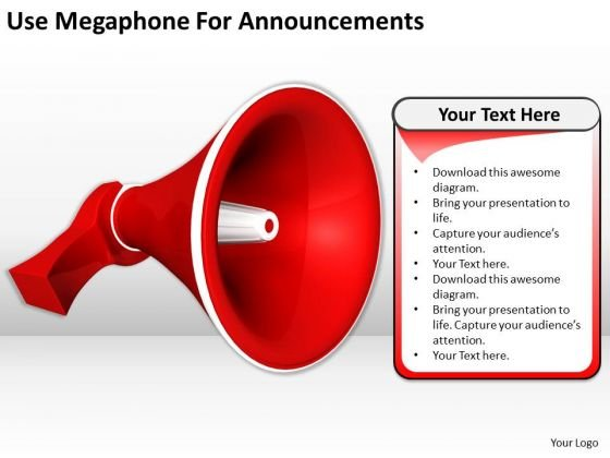 Stock Photo Business Development Strategy Template Use Megaphone For Announcements Pictures