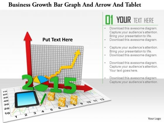 Stock Photo Business Growth Bar Graph And Arrow And Tablet PowerPoint Slide