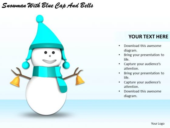 Stock Photo Business Growth Strategy Snowman With Blue Cap And Bells Pictures