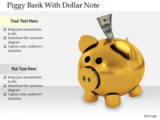 Stock Photo Business Level Strategy Definition Piggy Bank With Dollar Note Clipart