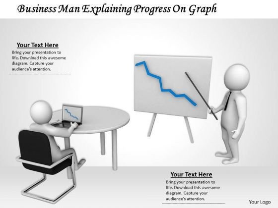 Stock Photo Business Men Discussing Progress With Graph PowerPoint Slide