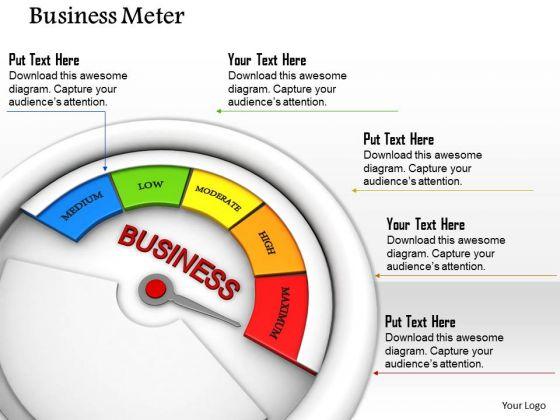Stock Photo Business Meter Displaying Maximum Value PowerPoint Slide