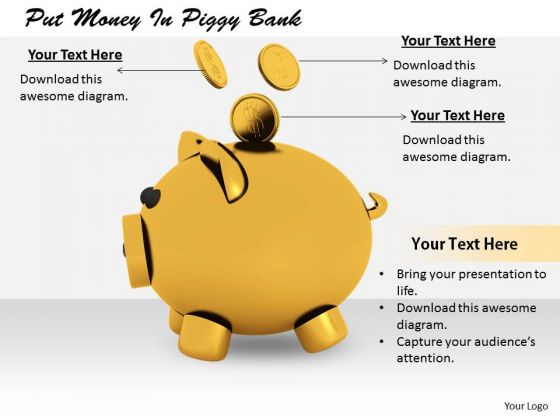 Stock Photo Business Plan Strategy Put Money Piggy Bank Pictures Images