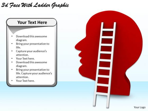 Stock Photo Business Strategy And Policy 3d Face With Ladder Graphic Pictures Images