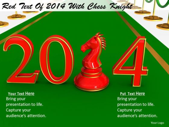 Stock Photo Business Strategy Concepts Red Text Of 2014 With Chess Knight Icons Images