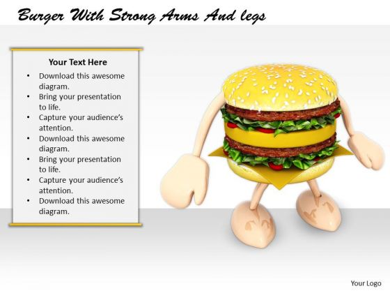 Stock Photo Business Strategy Consultant Burger With Strong Arms And Legs Clipart