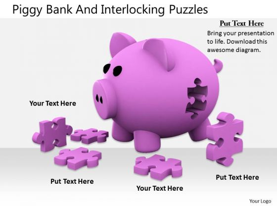 Stock Photo Business Strategy Development Piggy Bank And Interlocking Puzzles Images