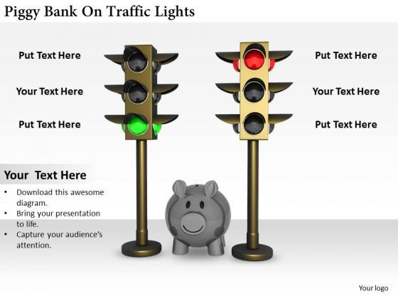 Stock Photo Business Strategy Examples Piggy Bank On Traffic Lights Success Images