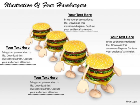 Stock Photo Business Strategy Implementation Illustration Of Four Hamburgers Images And Graphics