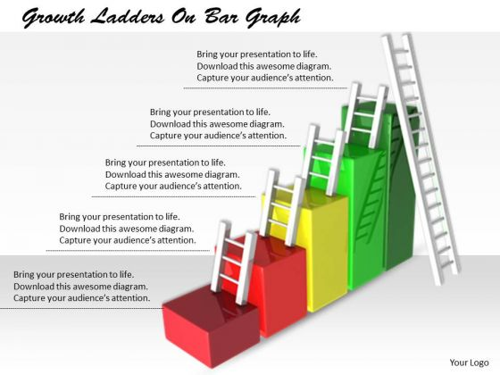 Stock Photo Business Strategy Review Growth Ladders On Bar Graph Icons