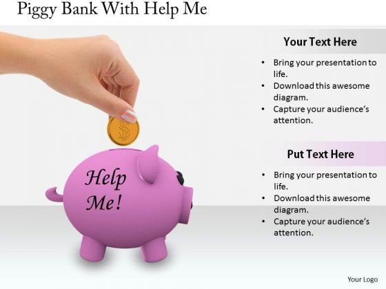 Stock Photo Business Strategy Review Piggy Bank With Help Me Stock Images