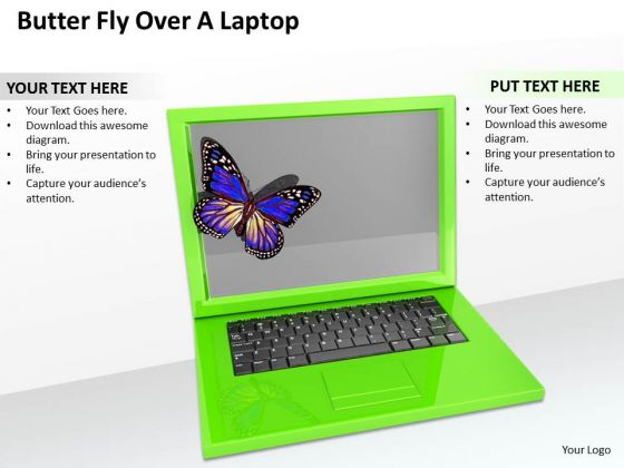 Stock Photo Butter Fly Over A Laptop Ppt Template
