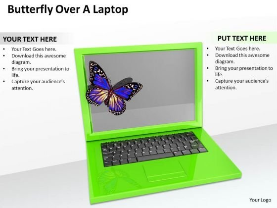 Stock Photo Butterfly On Green Laptop PowerPoint Slide