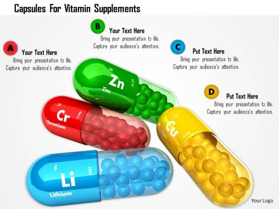 Stock Photo Capsules For Vitamin Supplements PowerPoint Slide