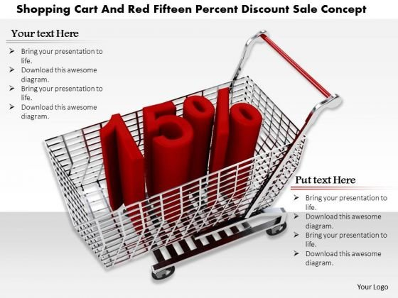 Stock Photo Cart With 15 Percent Discount Sale Concept PowerPoint Slide