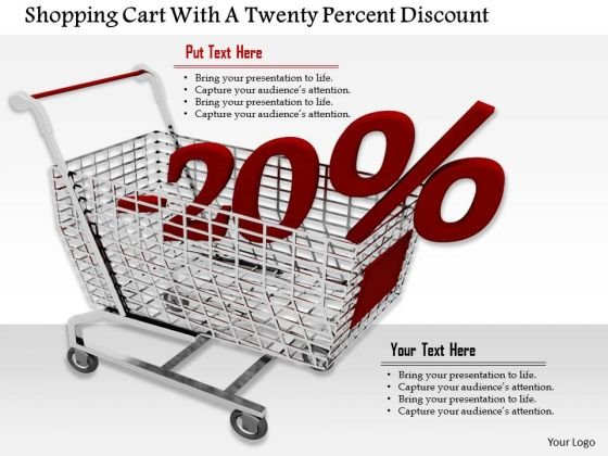 Stock Photo Cart With Twenty Percent Discount PowerPoint Slide