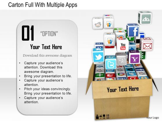 Stock Photo Carton Full With Multiple Apps PowerPoint Slide