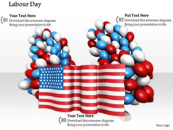 Stock Photo Celebration Of Labor Day With Balloons And Flag PowerPoint Slide