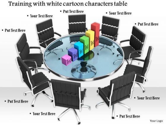 Stock Photo Chairs Around Table With Bar Graph PowerPoint Slide