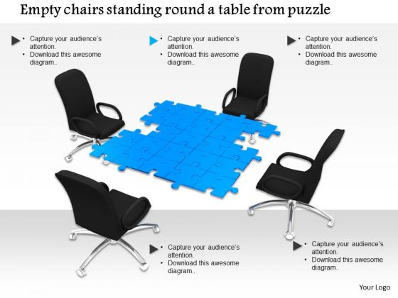 Stock Photo Chairs Around The Table To Show Meeting PowerPoint Slide