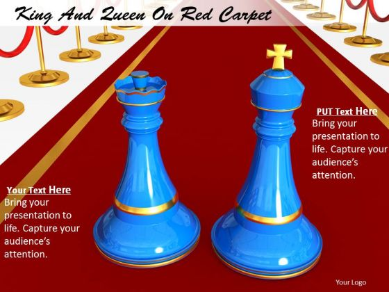Stock Photo Chess King And Queen On Red Carpet PowerPoint Slide