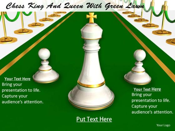 Stock Photo Chess King And Queen With Green Lawn PowerPoint Template