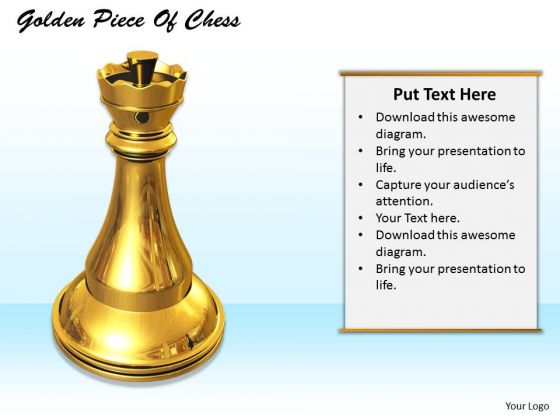 Stock Photo Chess King In Golden Color PowerPoint Slide
