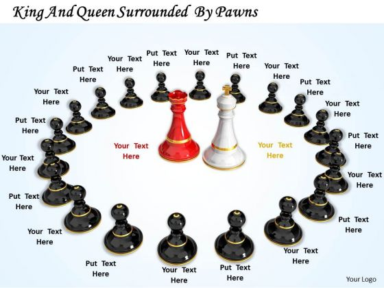 Stock Photo Chess Pawns Around King And Queen PowerPoint Slide