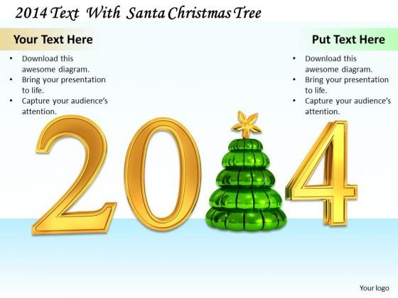 Stock Photo Christmas Tree With Golden Graphic Of 2014 PowerPoint Slide