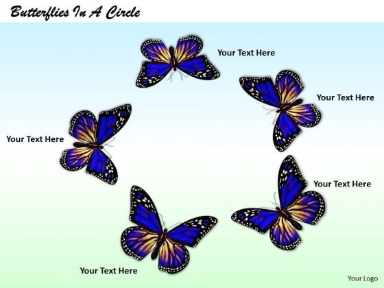 Stock Photo Circle Of Beautiful Butterflies PowerPoint Slide