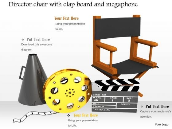 Stock Photo Clapboard Megaphone With Director Chair PowerPoint Slide