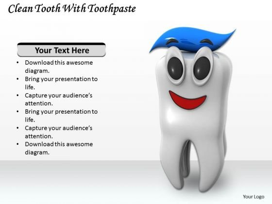 Stock Photo Clean Tooth With Toothpaste Ppt Template