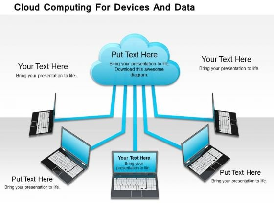 Stock Photo Cloud Computing For Devices And Data PowerPoint Slide