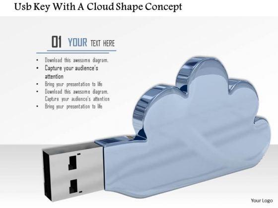 Stock Photo Cloud Shaped Usb Key PowerPoint Slide