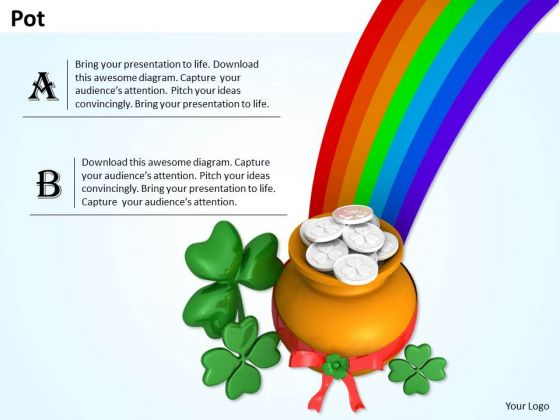 Stock Photo Clover Leaf With Pot And Rainbow PowerPoint Slide