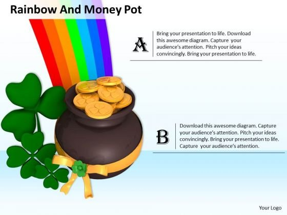 Stock Photo Clover With Pot And Rainbow PowerPoint Slide