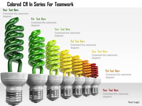 Stock Photo Colored Cfl In Series For Teamwork PowerPoint Slide
