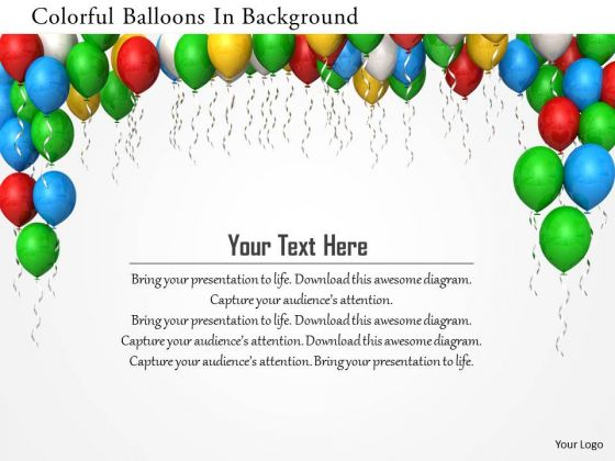 Stock Photo Colorful Balloons In Background PowerPoint Slide